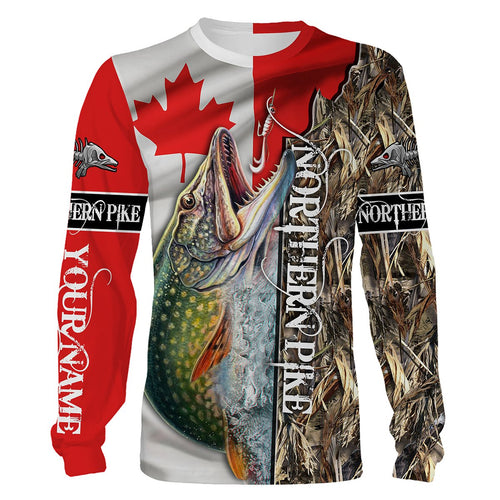 Northern Pike Fishing Canada Flag Custom name All over print shirts - personalized fishing gift for men, women and kid - NQS544