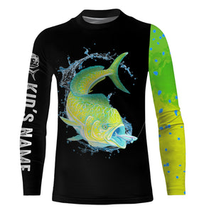 Mahi Mahi ( Dorado) Fishing UV protection quick dry Customize name long sleeves UPF 30+ - personalized fishing performance shirt for men and women and Kid - NQS956