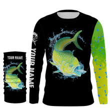 Load image into Gallery viewer, Mahi Mahi ( Dorado) Fishing UV protection quick dry Customize name long sleeves UPF 30+ - personalized fishing performance shirt for men and women and Kid - NQS956