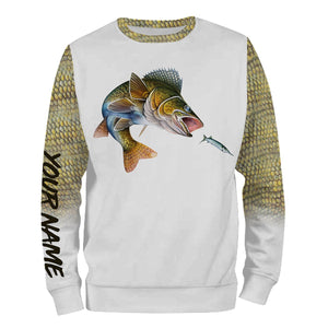 Walleye fishing Customized Name 3D All Over print shirts personalized fishing apparel for Adult and kid NQS551