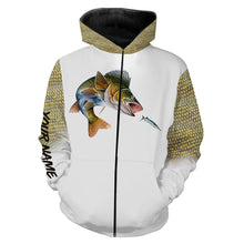 Load image into Gallery viewer, Walleye fishing Customized Name 3D All Over print shirts personalized fishing apparel for Adult and kid NQS551