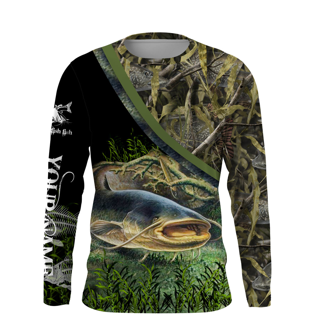 Catfish Fishing camo UV protection quick dry customize name long sleeves shirt UPF 30+ personalized gift for Fishing lovers - NQS708