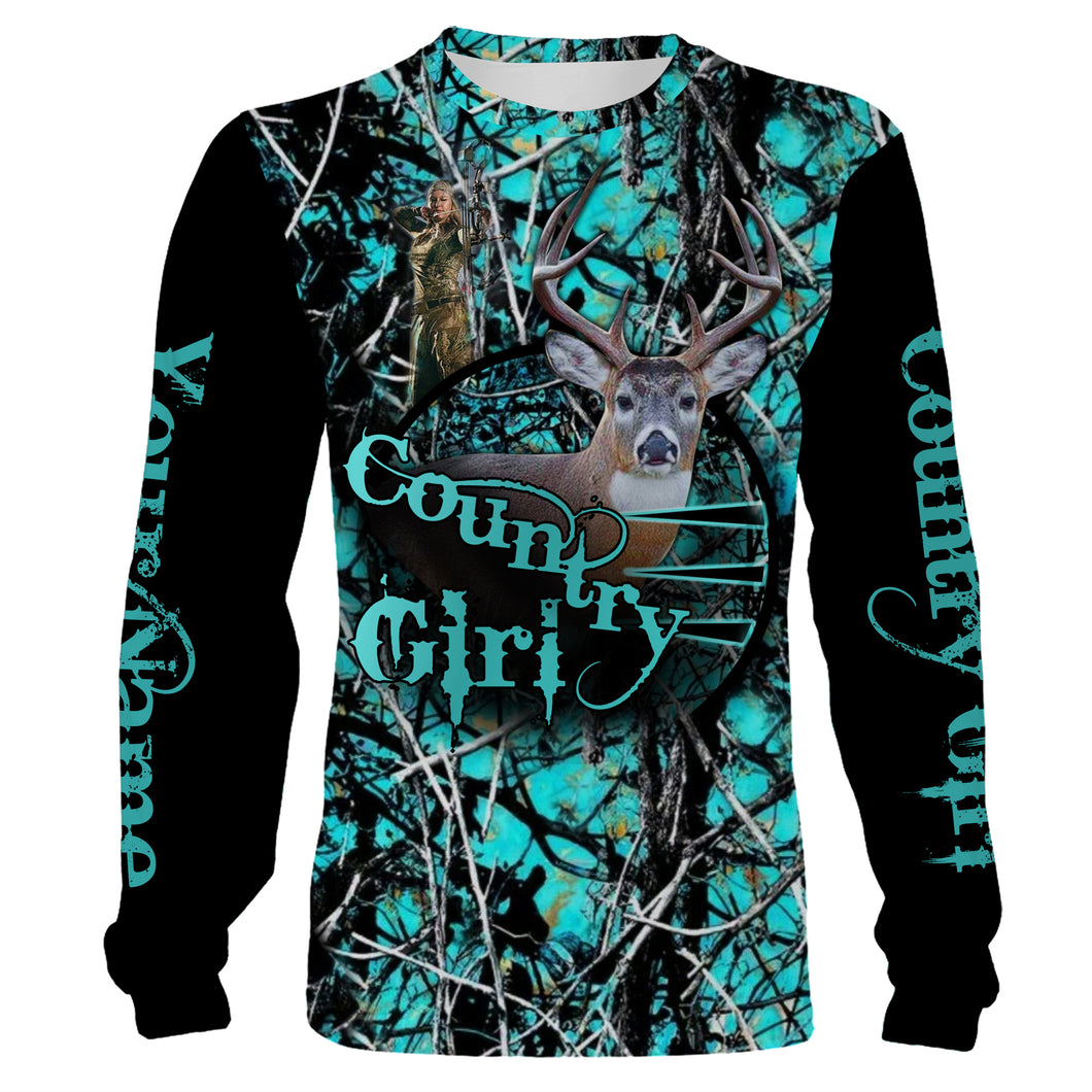 Country Girl Deer Hunting Camo Customize Name 3D All Over Printed Shirts Personalized Hunting gift For Adult And Kid NQS855