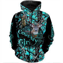 Load image into Gallery viewer, Country Girl Deer Hunting Camo Customize Name 3D All Over Printed Shirts Personalized Hunting gift For Adult And Kid NQS855