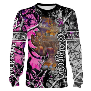 The country girl hunting clothing Deer hunter game pink muddy camo Customize Name 3D All Over Printed Shirts Personalized Hunting gift For Adult and kid NQS1014
