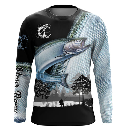 Chinook Salmon ( King salmon) Fishing scale performance fishing shirts UV protection quick dry Customize name long sleeves UPF 30+ personalized fishing shirts for men, women and kid - NQS909