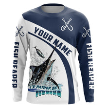 Load image into Gallery viewer, I'd rather be fishing Fish reaper Fish On Marlin Fishing UV protection quick dry Customize name long sleeves UPF 30+ personalized gift - NQS755