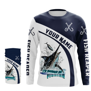 I'd rather be fishing Fish reaper Fish On Marlin Fishing UV protection quick dry Customize name long sleeves UPF 30+ personalized gift - NQS755