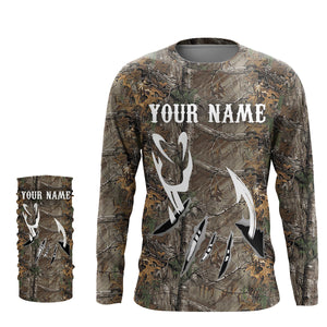 Fish Hook camo UV protection quick dry Customize name long sleeves UPF 30+ - personalized fishing performance shirt for men and women and Kid - NQS940
