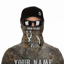 Load image into Gallery viewer, Fish Hook camo UV protection quick dry Customize name long sleeves UPF 30+ - personalized fishing performance shirt for men and women and Kid - NQS940