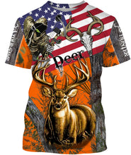 Load image into Gallery viewer, Deer Hunting American Flag Custom name All over print shirts - personalized hunting gift for men, women and kid - FSD45