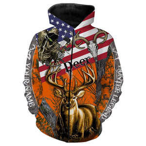 Deer Hunting American Flag Custom name All over print shirts - personalized hunting gift for men, women and kid - FSD45