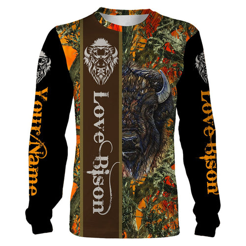 Bison Hunting Orange Camo Custom name 3D All over print shirts - Best hunting gift for Men, Women and Kid - FSD74