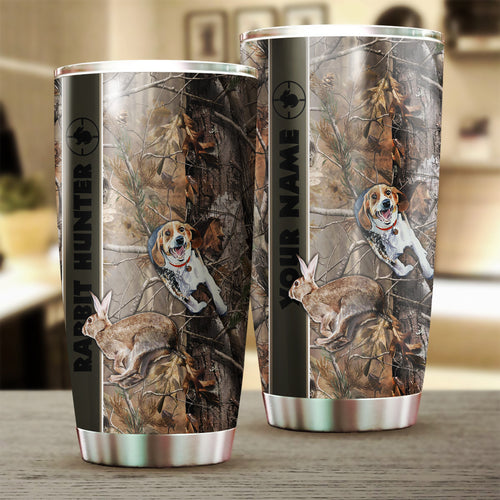 1pc Rabbit hunting with Beagle Stainless Steel Tumbler Cup Personalized gifts for Rabbit hunter - FSD1047