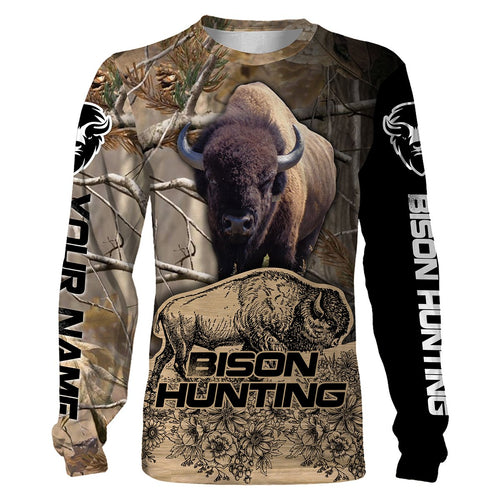 Bison hunting Custom Name 3D All over printed shirts Personalized hunting gift - FSD93