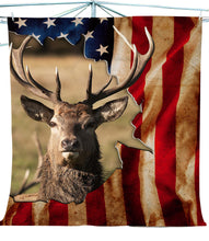 Load image into Gallery viewer, Elk Fleece blanket American Flag - FSD438