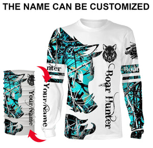 Boar hunting Custom Name 3D All over print Shirts, Face shield - personalized hunting gifts - FSD301