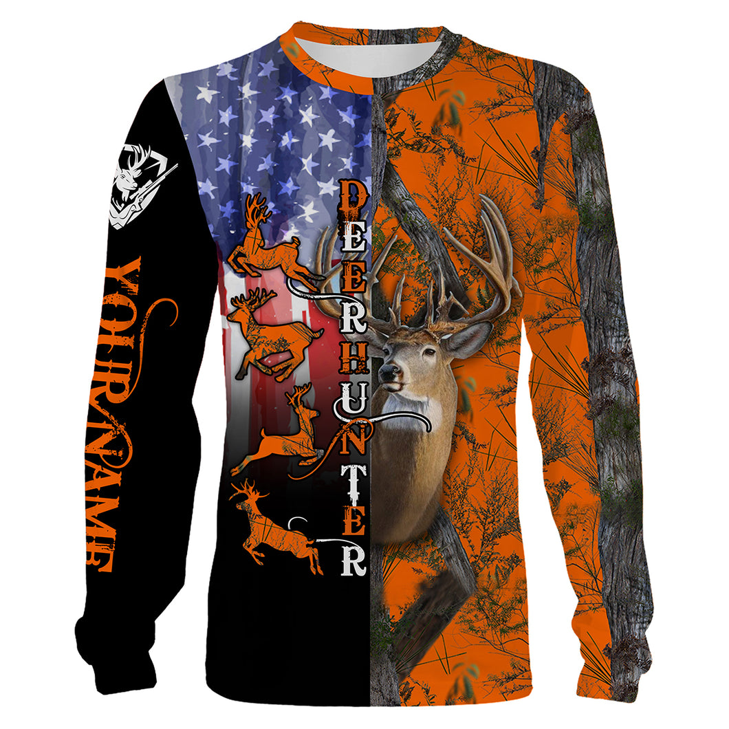 Deer Hunting American Flag Custom name All over print shirts - personalized hunting gift for men, women and kid - FSD40