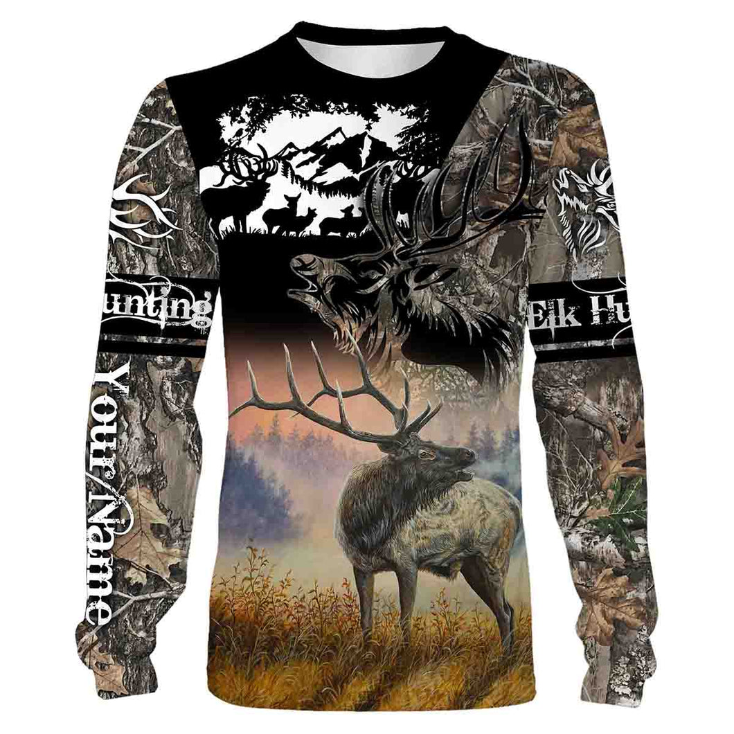 Personalized Elk Hunting Full Print T- Shirt, Long Sleeve, Hoodie, Zip up hoodie - hunting gift FSD47