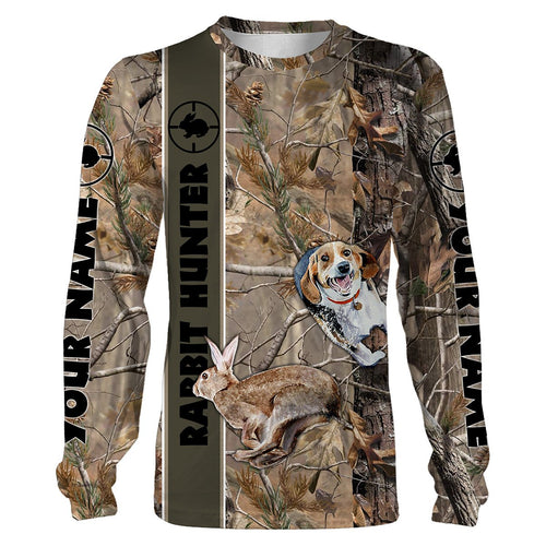 Rabbit hunting with beagles hunting dog camouflage custom Name 3D All over print T-shirt, Sweatshirt, Long sleeves, Hoodie - Personalized hunting gift for hunter Men, Women and Kid - FSD546