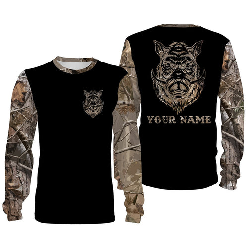 Boar camouflage custom name All over print Shirts, face shield - Personalized hunting gifts - FSD376