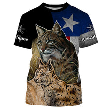 Load image into Gallery viewer, Bobcat hunting TX Texas flag custom name 3D All over print T-shirt, Sweatshirt, Long sleeves, Hoodie - Hunting gift for Men, Women and Kid - FSD559
