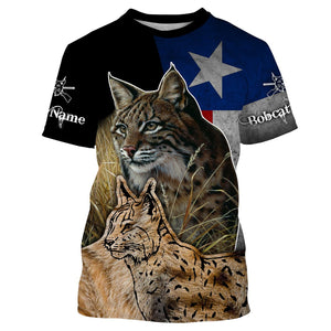 Bobcat hunting TX Texas flag custom name 3D All over print T-shirt, Sweatshirt, Long sleeves, Hoodie - Hunting gift for Men, Women and Kid - FSD559