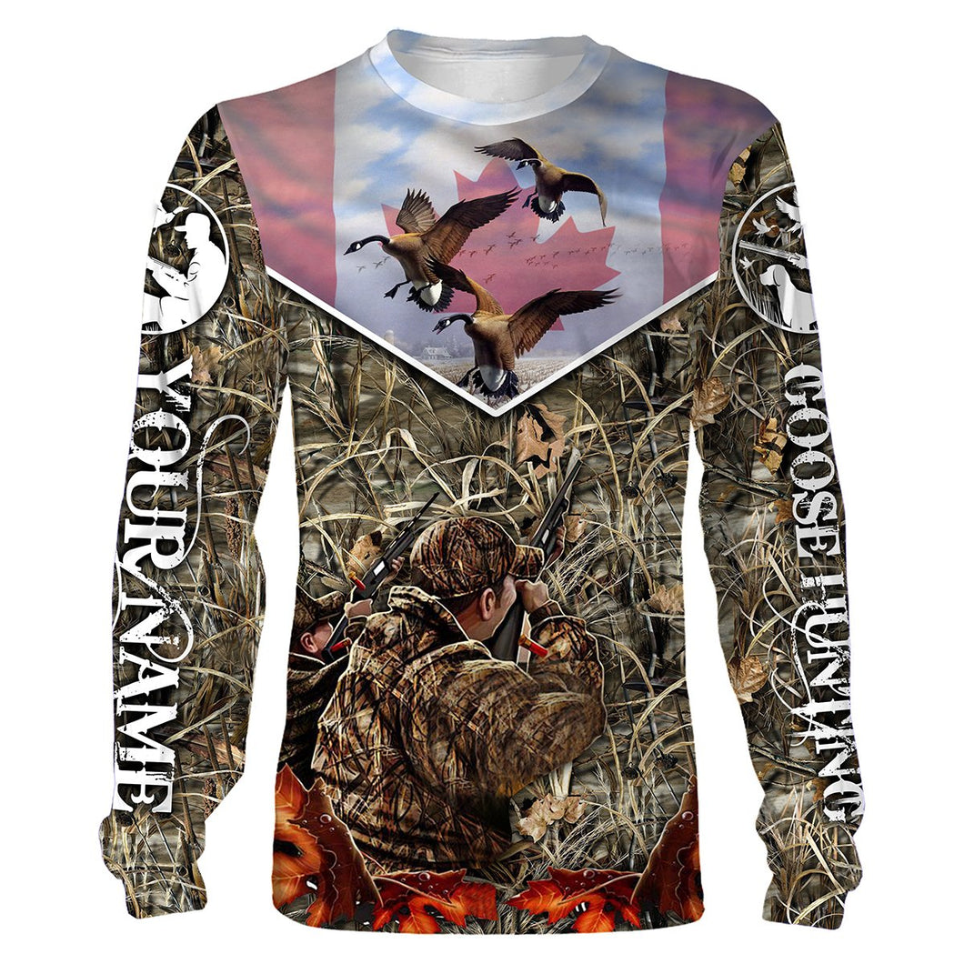 Goose hunting Canada Flag Camo Custom Name All over print shirts - Personalized hunting gift for Men, Women and Kid - FSD71