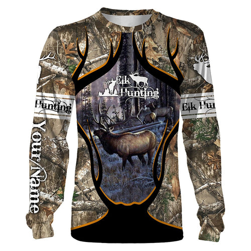 Personalized Elk Hunting full 3D printing Hoodie, Zip up hoodie, Long sleeves, T-shirt - FSD87