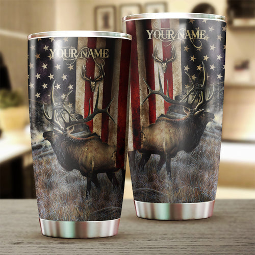 Elk Hunting American flag Custom name Stainless Steel Tumbler Cup - Personalized Hunting gifts - FSD1070