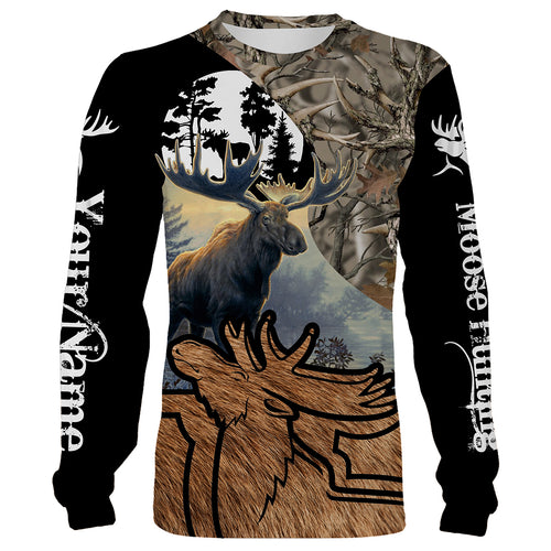 Personalized Moose hunting full print T-shirt, long sleeves, hoodie - hunting gift for men, women and kid - FSD7