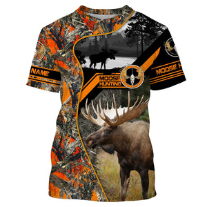 Moose hunting Custom Name 3D All over print Shirts, Face shield - personalized hunting gifts - FSD267