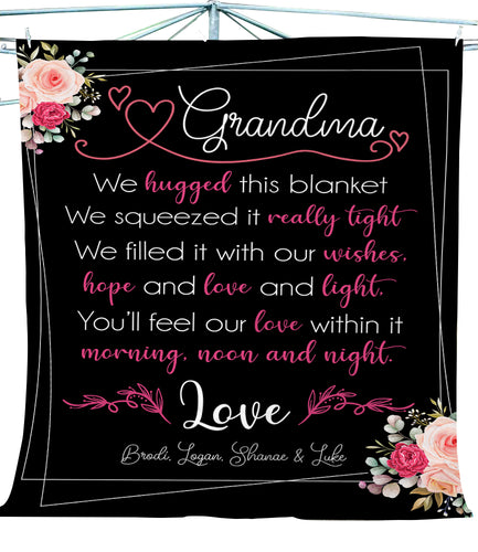 Personalized Grandkids to Grandma blanket Gifts for Nana Grandma - FSD1369D02