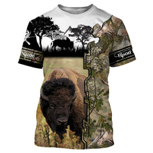 Load image into Gallery viewer, Bison Hunting Custom name 3D All over print shirts - personalized hunting gift for men, women and kid - FSD32