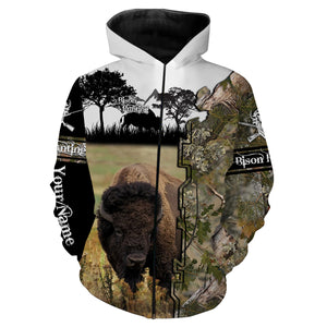 Bison Hunting Custom name 3D All over print shirts - personalized hunting gift for men, women and kid - FSD32