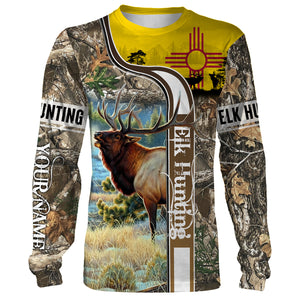 Elk Hunting New Mexico Flag Custom Name All Over Print Shirts - Hunting gift for men, women and kid - FSD48