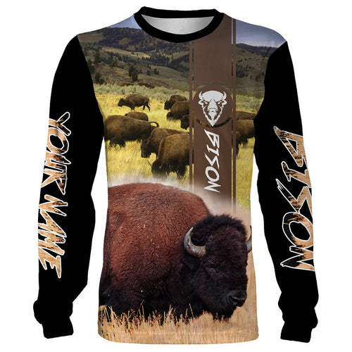 Bison Camo Full 3D printing Customize Name Shirts - Hunting Gift for Men, Women and Kid - FSD57