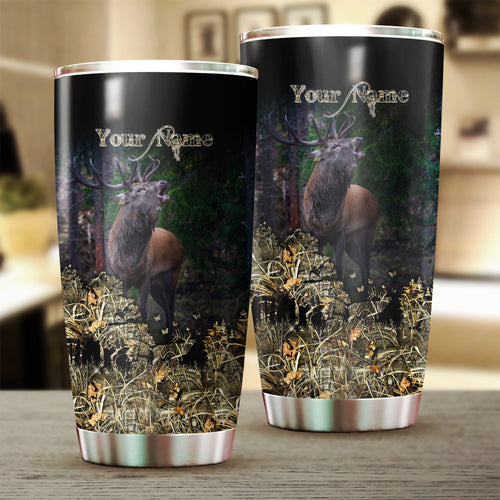 Elk Hunting Custom name Stainless Steel Tumbler Cup - Personalized Hunting gifts - FSD224