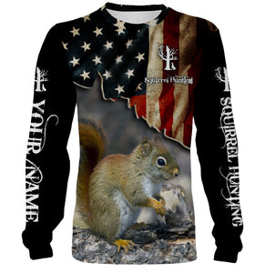 Squirrel hunting US flag custom Name 3D All over print Sweatshirt, T-shirt, Long sleeves, Hoodie - Personalized hunting gift for Men, Women and Kid - FSD555