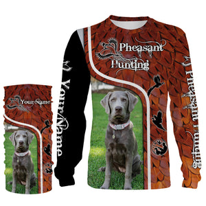 Pheasant hunting with SILVER LABRADOR Custom Name 3D All over print Shirts, Face shield - Personalized hunting gifts - FSD411