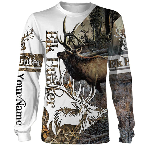 Elk Hunting Camo 3D Custom name All over print shirts - personalized hunting gift for men, women and kid - FSD29