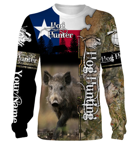 Hog hunting Texas flag camo Custom Name 3D All over print Shirts, Face shield - Personalized hunting gifts - FSD332