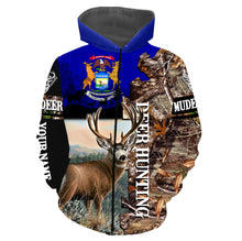 Load image into Gallery viewer, Deer Hunting Michigan Flag Custom name All over print long sleeves, T-shirts, Hoodie - FSD38