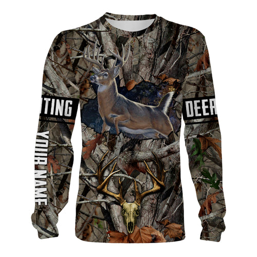 Personalized whitetail Deer hunting Deer skull camouflage Custom Name Shirt, Hoodie, Long sleeves, Sweatshirt - Hunting gift for Deer hunter Men, Women and Kid - FSD739