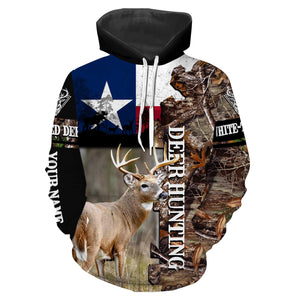 Best White-tailed Deer Hunting Texas Flag Custom name All over print long sleeves, T-shirts, Hoodie - FSD18