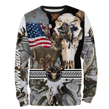 Load image into Gallery viewer, Deer Skull Hunting American Flag Camo Custom name All over print shirts - FSD24