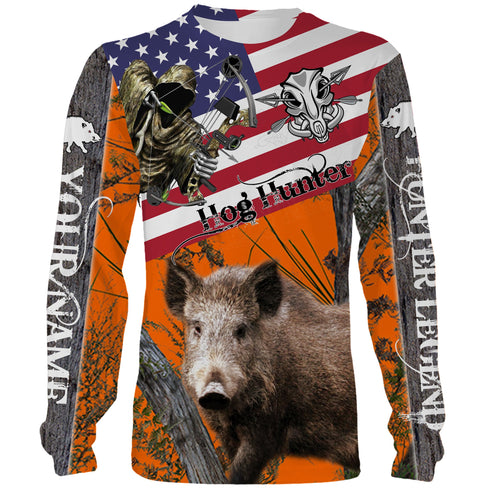 Hog hunting American Flag camo Custom Name 3D All over print Shirts - Personalized hunting gift - FSD184