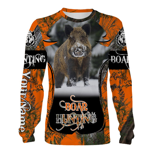 Boar hunting Orange camo Custom Name 3D All over print Shirts, Face shield - Personalized hunting gifts - FSD345