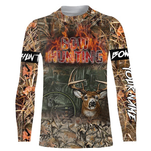Deer Bow hunting custom Name 3D All over print Sweatshirt, Long sleeves, Hoodies, Face shield - Personalized hunting gifts for Men, Women and Kid - FSD512