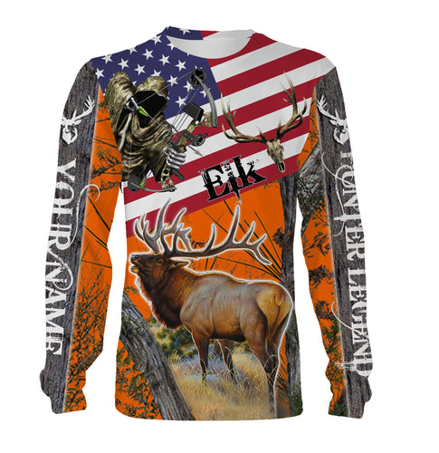 Elk hunting American Flag Custom Name 3D All over print Shirts - Personalized hunting gift - FSD188